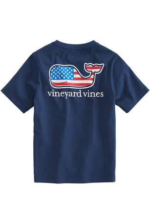 Vineyard Vines Boys Summer 2018 Flag Whale Pocket T-Shirt