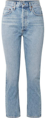 A Gold E AGOLDE - Riley Cropped High-rise Straight-leg Jeans - Light denim