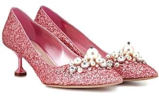 Miu Miu Glitter kitten-heel pumps
