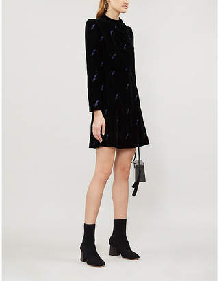 Maje Ripicow embroidered velvet mini dress