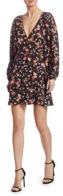 A.L.C. Women's Carlo Floral Wrap Dress - Black Ginger Pink - Size 10