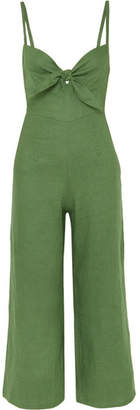 Faithfull The Brand Presley Cropped Tie-front Linen Jumpsuit - Dark green
