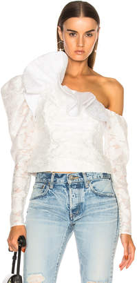 Self-Portrait Self Portrait Floral Fil Coupe Ruffle Top in White | FWRD