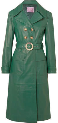 ALEXACHUNG Belted Leather Trench Coat - Green