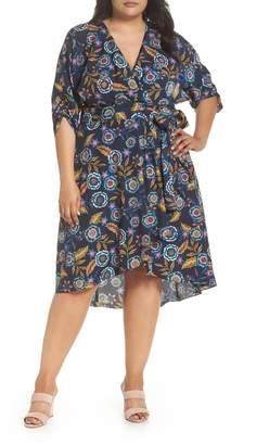 Eliza J Floral Hi-Lo Surplice Dress (Plus Size)
