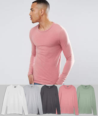 Asos Design DESIGN Tall extreme muscle fit long sleeve t-shirt 5 pack SAVE