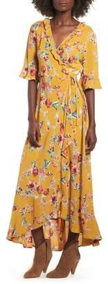 Band of Gypsies Hudson Floral Print Maxi Wrap Dress