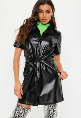 Missguided Black Faux Leather Button Through Shirt Dress