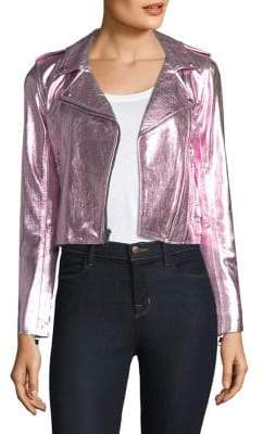 The Mighty Company The Mighty Company Women's Metallic Leather Jacket - Pink - Size Small