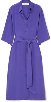 Diane von Furstenberg Belted Silk Crepe De Chine Shirt Dress - Purple