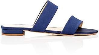 Barneys New York Women's Satin Double-Band Slide Sandals - Navy