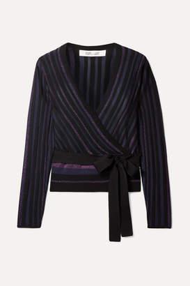 Diane von Furstenberg Laren Ribbed Metallic Stretch-knit Wrap Top - Black