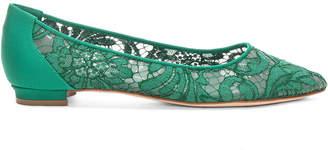 Manolo Blahnik Tittola Lace 10 Pea Flat in Emerald Green Marescot | FWRD