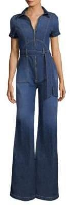 Alice + Olivia Jeans Jeans Women's Gorgeous Collar Wide-Leg Jumpsuit - Love Train - Size 27 (4)