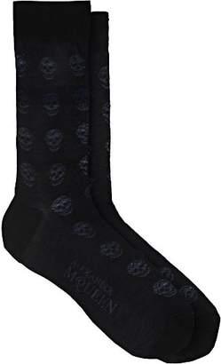 Alexander McQueen Men's Skull-Knit Cotton Mid-Calf Socks - Navy
