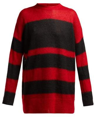 No.21 No. 21 - Striped Mohair Blend Oversized Sweater - Womens - Black Red