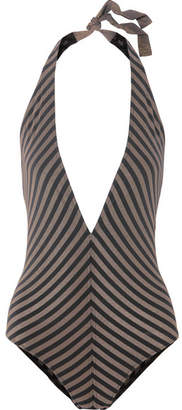 Eres Backgammon Fair Play Striped Stretch-lurex Halterneck Swimsuit - Black