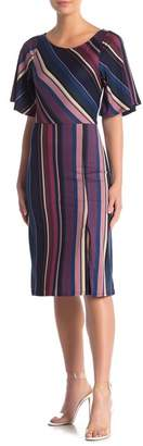 Vanity Room Stripe Slit Hem Midi Dress