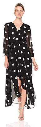 Eliza J Women's Long Sleeve Polka Dot Maxi Dress