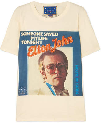 Gucci Elton John Printed Cotton-jersey T-shirt - Off-white