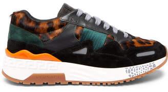 Versace Achilles Panelled Leopard-Print Calf Hair Sneakers