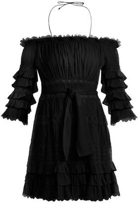 Zimmermann Corsair Off The Shoulder Ruffled Cotton Dress - Womens - Black