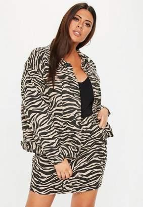 Missguided Plus Size Denim Brown Zebra Jacket