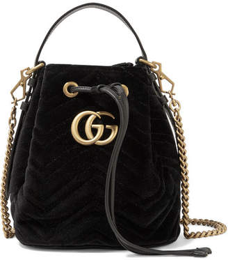 Gucci Gg Marmont Leather-trimmed Quilted Velvet Bucket Bag - Black