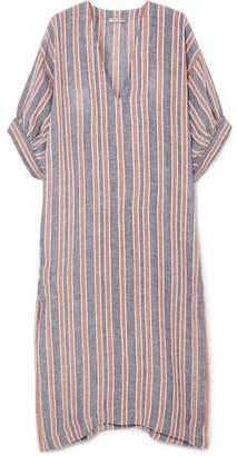 Three Graces London - Livietta Striped Linen-blend Kaftan - Blue