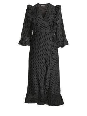 Ganni Women's Jasmine Polka Dot Wrap Dress - Black - Size 42 (10)