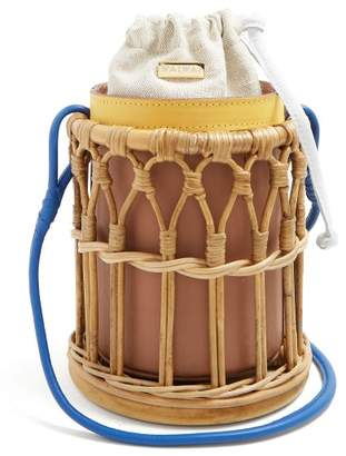 Wai Wai - Bamboo Cage And Leather Bucket Bag - Womens - Light Brown