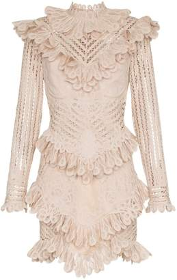 Zimmermann unbridled battenburg lace mini dress