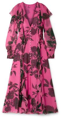 Carolina Herrera Ruffled Floral-print Silk-chiffon Midi Dress - Pink