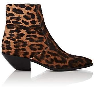Saint Laurent Women's Leopard-Print Calf Hair Ankle Boots - Brown
