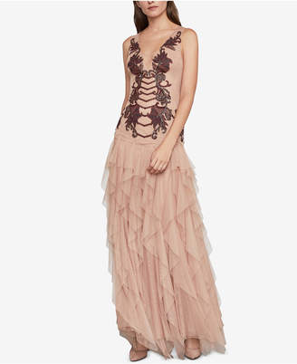 BCBGMAXAZRIA Floral Embroidered Tulle Gown