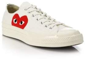 Comme des Garcons Women's Peek-A-Boo Canvas Low-Top Sneakers - White - Size 12