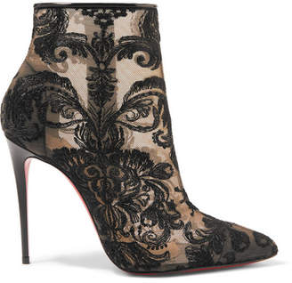Christian Louboutin Gipsy 100 Guipure Lace Ankle Boots - Black