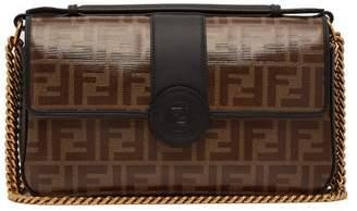 Fendi Double F Leather Baguette Bag - Womens - Black Brown