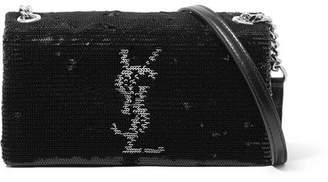 Saint Laurent West Hollywood Leather-trimmed Sequined Satin Shoulder Bag - Black