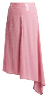 MSGM Sequin Embellished Asymmetric Midi Skirt - Womens - Pink