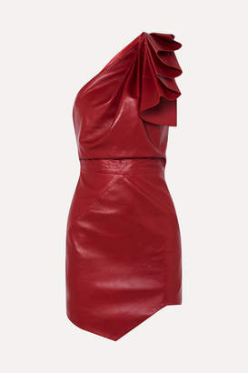Alexandre Vauthier One-shoulder Leather Mini Dress - Red