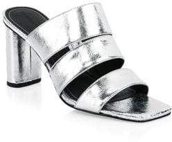 KENDALL + KYLIE Women's Metallic Leather Sandals - Silver - Size 6