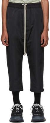 Rick Owens Black Satin Drawstring Cropped Trousers