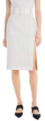 Sara Battaglia Women's Belted Pencil Skirt - Black/White - Size 42 (6)