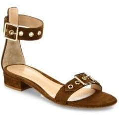 Gianvito Rossi Women's Hayes Buckle Suede Ankle-Strap Sandals - Texas - Size 35.5 (5.5)