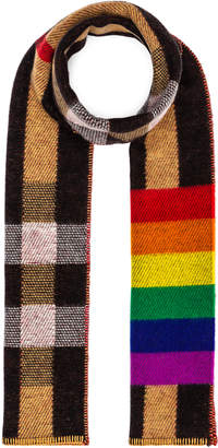 Burberry Rainbow Stripe Check Blanket Scarf in Antique Yellow & Rainbow | FWRD