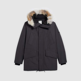 Sandro Hooded coat trimmed with fur