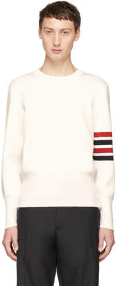 Thom Browne White Milano Stitch Four Bar Crewneck Sweater