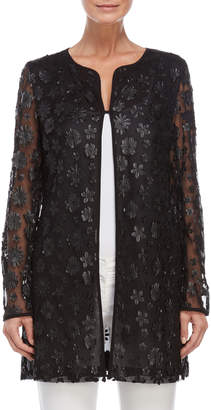 Karl Lagerfeld Paris Floral Applique Topper Coat