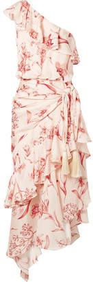 Johanna Ortiz The Inamorado One-shoulder Floral-print Silk-georgette Midi Dress - Blush